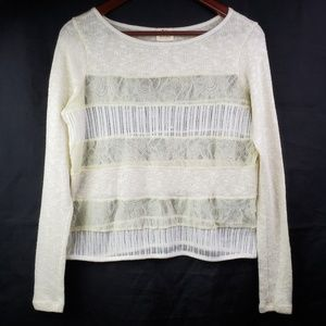 Pins & Needles Ivory Mixed Lace Sweater Sheer